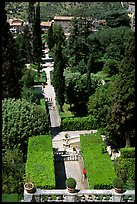 Formal gardens seen from the Villa d'Este. Tivoli, Lazio, Italy