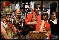 Roman Legionnaires pose with tourists, Roman Forum. Rome, Lazio, Italy ( color)