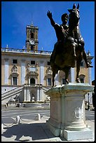 Equestrian status of Marcus Aurelius in front of the Palazzo Senatorio. Rome, Lazio, Italy (color)