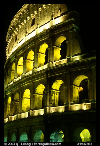 Colosseum illuminated night. Rome, Lazio, Italy