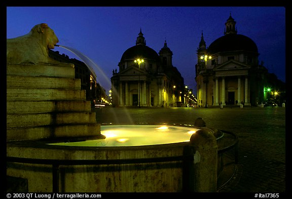 Fountain in Piazza Del Popolo at night. Rome, Lazio, Italy (color)