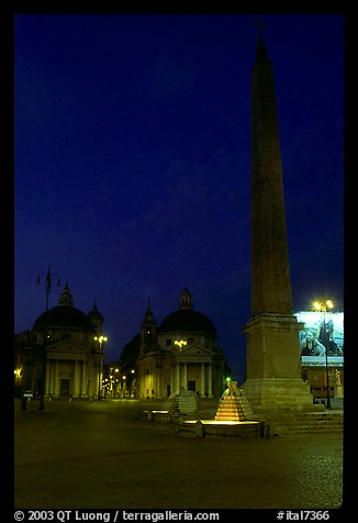 Obelisk in Piazza Del Popolo at night. Rome, Lazio, Italy (color)