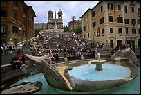 Fontana della Barcaccia at the foot of the Spanish Steps. Rome, Lazio, Italy (color)