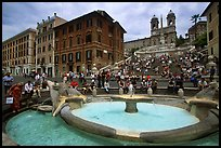 Fontana della Barcaccia at the foot of the Spanish Steps. Rome, Lazio, Italy