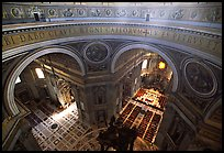 Interior of Basilica San Pietro (Saint Peter) seen from the Dome. Vatican City (color)
