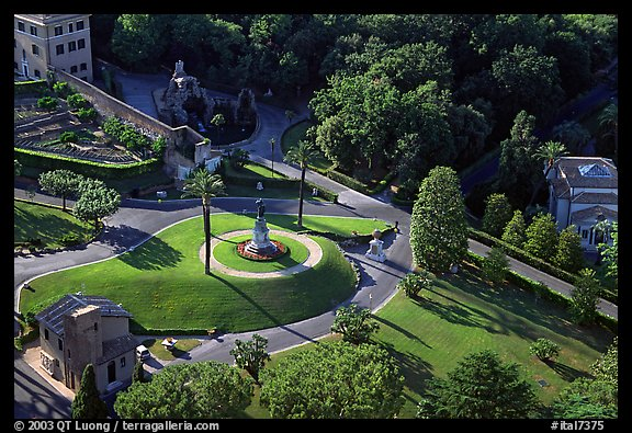 Vatican gardens seen from the Dome. Vatican City (color)