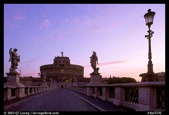 Ponte Sant'Angelo and Castel Sant'Angelo, dawn. Vatican City (color)