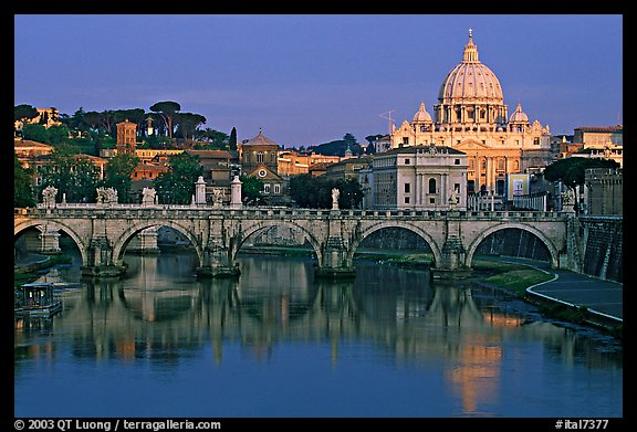 Ponte Sant'Angelo over the Tiber, and Basilica San Pietro, sunrise. Vatican City (color)