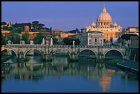 Ponte Sant'Angelo over the Tiber, and Basilica San Pietro, sunrise. Vatican City ( color)