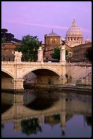 Ponte Sant'Angelo and Basilica San Pietro, sunrise. Vatican City