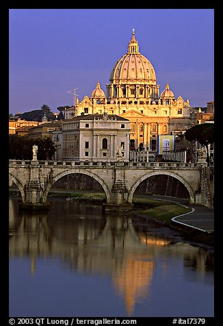 Bridge and Basilic Saint Peter reflected in Tiber River, sunrise. Vatican City