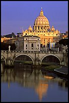 Bridge and Basilic Saint Peter reflected in Tiber River, sunrise. Vatican City ( color)
