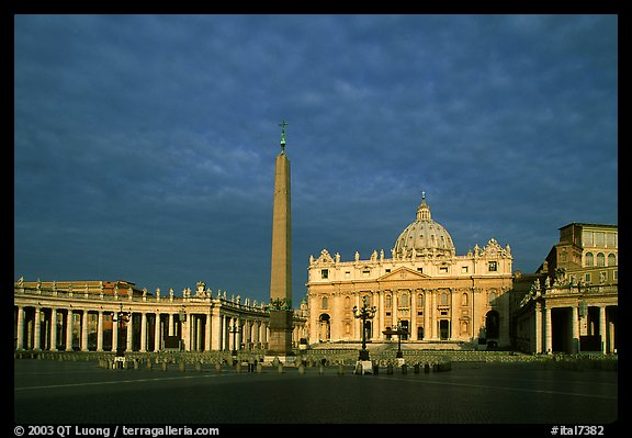 Piazza San Pietro and Basilica San Pietro (Saint Peter), sunrise. Vatican City (color)