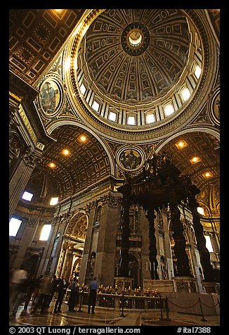 Baldachino, Bernini's baroque canopy stands above St Peter's tomb. Vatican City (color)