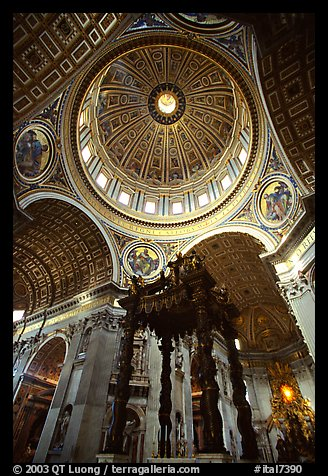 Baldachino, and Dome of Basilic Saint Peter. Vatican City (color)