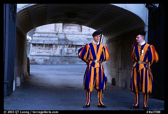 Swiss guards in blue, red, orange and yellow  Renaissance uniform. Vatican City