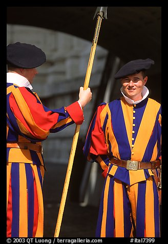 Papal Swiss guards in colorful traditional uniform. Vatican City