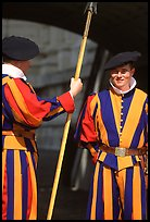 Papal Swiss guards in colorful traditional uniform. Vatican City (color)