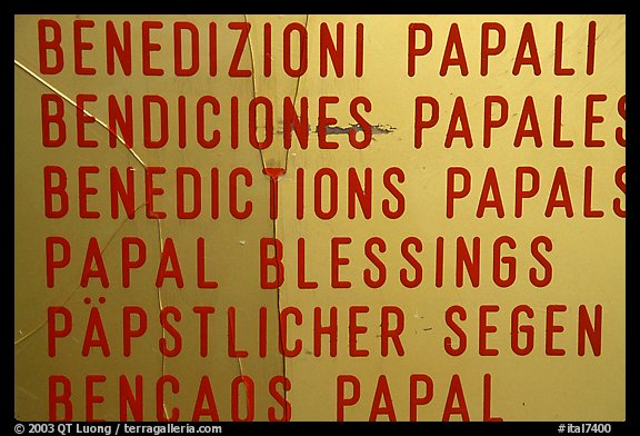 Papal Blessings sign in many languages. Vatican City