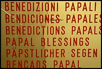 Papal Blessings sign in many languages. Vatican City ( color)