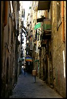 Narrow side street in Spaccanapoli. Naples, Campania, Italy