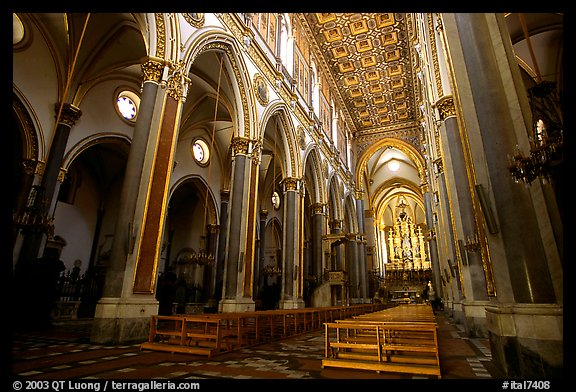 Church interior looking down the nave to the apse. Naples, Campania, Italy (color)
