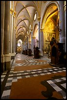 Church side aisle. Naples, Campania, Italy
