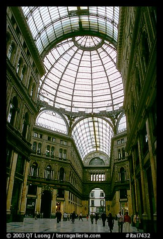 Roof and arcades of Galleria Umberto I. Naples, Campania, Italy (color)