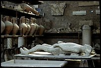 Artifacts found during the excavations, including a petrified man. Pompeii, Campania, Italy
