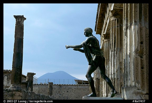 Statue of Apollon, Temple, and Mt Vesuvius. Pompeii, Campania, Italy (color)