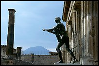 Statue of Apollon, Temple, and Mt Vesuvius. Pompeii, Campania, Italy ( color)