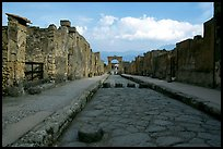 Street with roman period pavement and sidewalks. Pompeii, Campania, Italy (color)