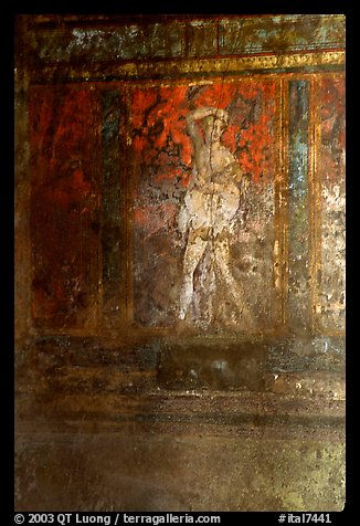 Fresco on the walls of Villa di Misteri (Villa of Mysteries). Pompeii, Campania, Italy (color)