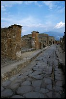 Paved street and ruins. Pompeii, Campania, Italy