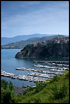 Harbor and medieval town seen from above, Agropoli. Campania, Italy