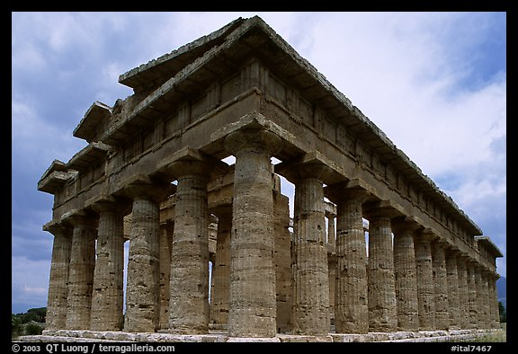 Temple of Neptune, the largest and best preserved of the three temples. Campania, Italy