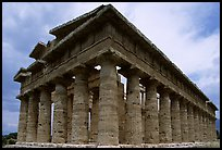 Temple of Neptune, the largest and best preserved of the three temples. Campania, Italy (color)