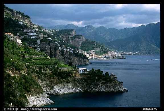 Coastline with Amalfi in the background. Amalfi Coast, Campania, Italy (color)