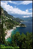 Hills plunging into the Mediterranean. Amalfi Coast, Campania, Italy ( color)