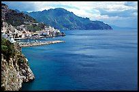 Blue waters and Amalfi. Amalfi Coast, Campania, Italy