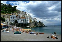 Beach and houses,  Amalfi. Amalfi Coast, Campania, Italy (color)