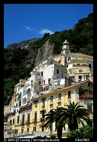 Hillside houses and church, Amalfi. Amalfi Coast, Campania, Italy (color)