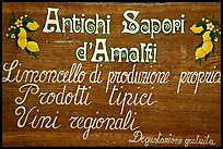 Sign advertising Lemoncelo, the local lemon-based liquor, Amalfi. Amalfi Coast, Campania, Italy (color)