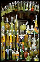 Bottles of Lemoncelo, the local lemon-based liquor, Amalfi. Amalfi Coast, Campania, Italy