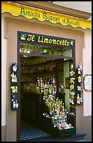 Store specializing in Lemoncelo, the local lemon-based liquor, Amalfi. Amalfi Coast, Campania, Italy ( color)