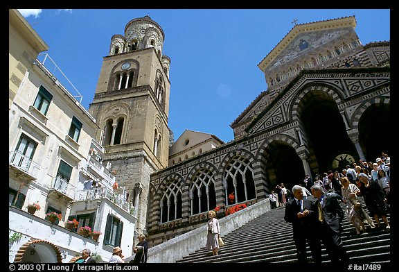 Flight of stairs and ornate Duomo Sant'Andrea, Amalfi. Amalfi Coast, Campania, Italy
