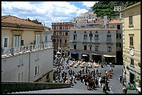 Plazza with wedding party seen from the stairs of Duomo Sant'Andrea, Amalfi. Amalfi Coast, Campania, Italy