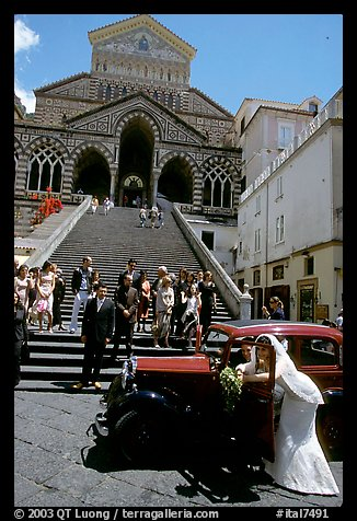 Wedding in front of Duomo Sant'Andrea, Amalfi. Amalfi Coast, Campania, Italy (color)