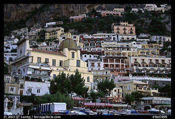 Houses built on steep slopes, Positano. Amalfi Coast, Campania, Italy