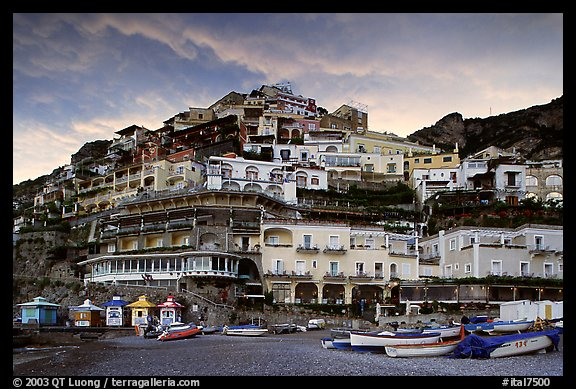 Wedding cake hill at sunset, Positano. Amalfi Coast, Campania, Italy (color)